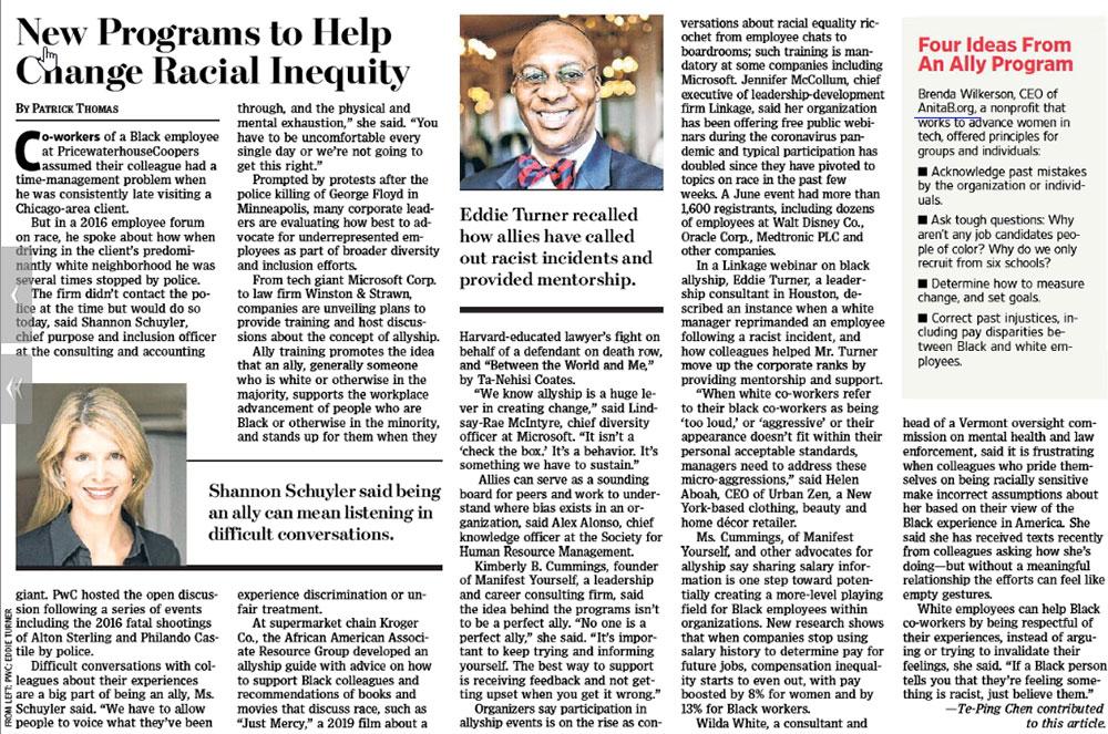 Eddie Turner on Page A11 of the July 13, 2020 edition of the Wall Street Journal
